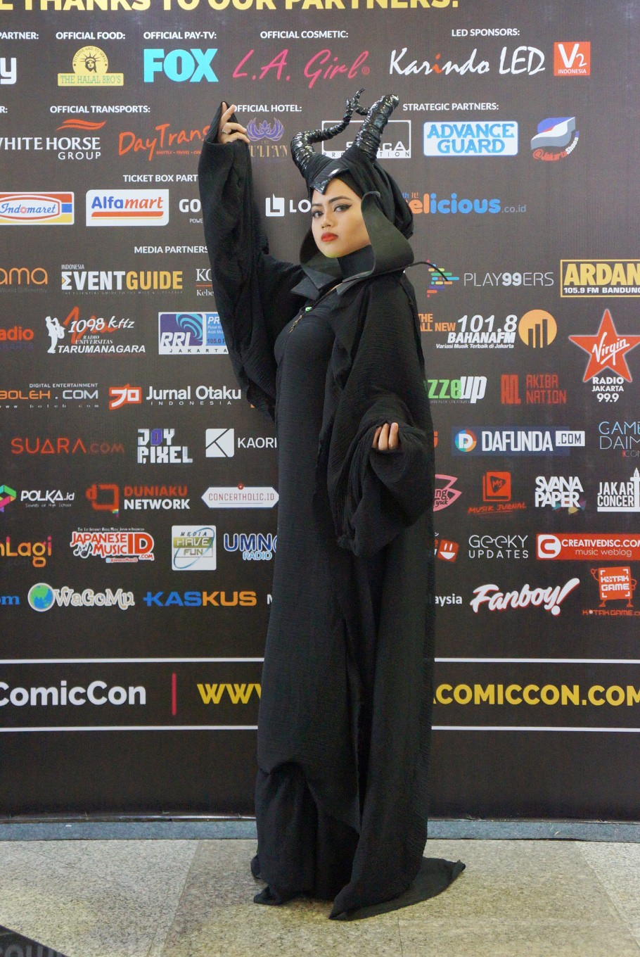 A visitor is dressed as Walt Disney Pictures' 'Maleficent' during the 2017 Indonesia Comic Con.