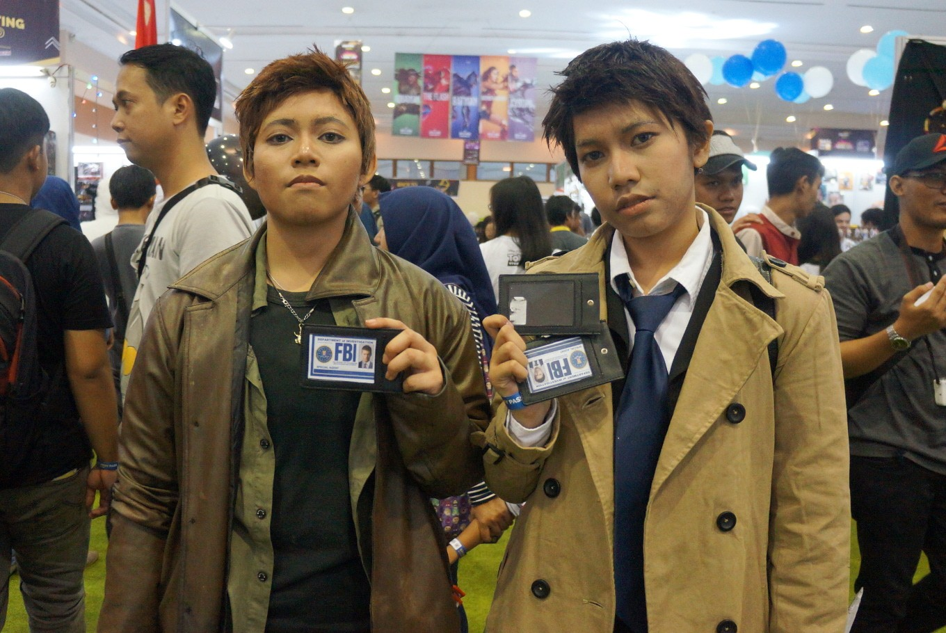 'Supernatural' characters Dean Winchester (left) and Castiel are well portrayed by Indonesian cosplayers at the 2017 Indonesia Comic Con.