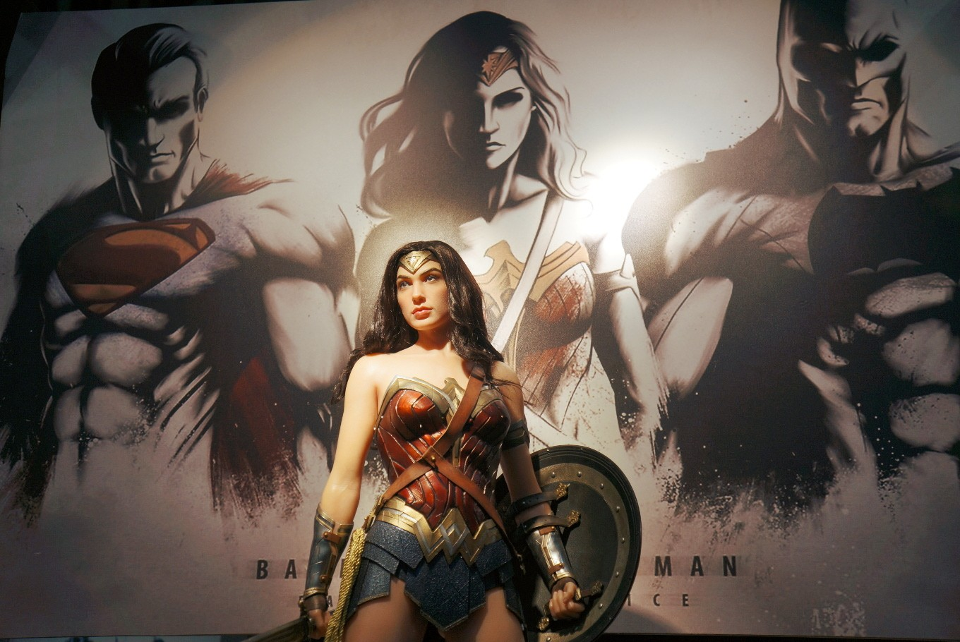 A Wonder Woman (Gal Gadot) action figure is displayed at the 2017 Indonesia Comic Con.