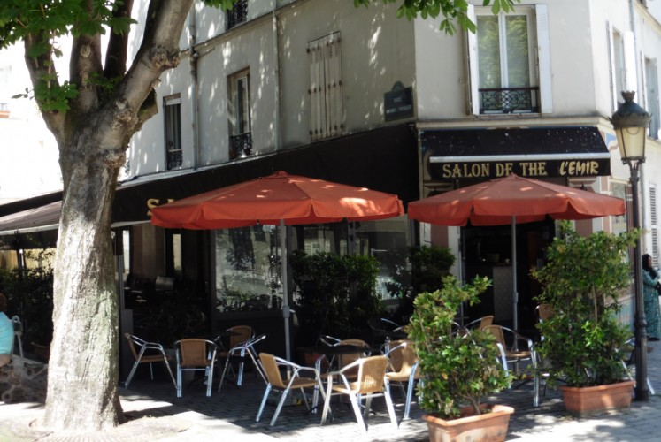 A typical street-side cafe in Paris.