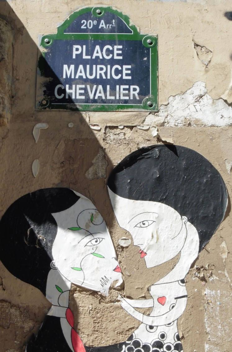 A mural found at Place Maurice Chevalier, a square in the 20th district of the city.