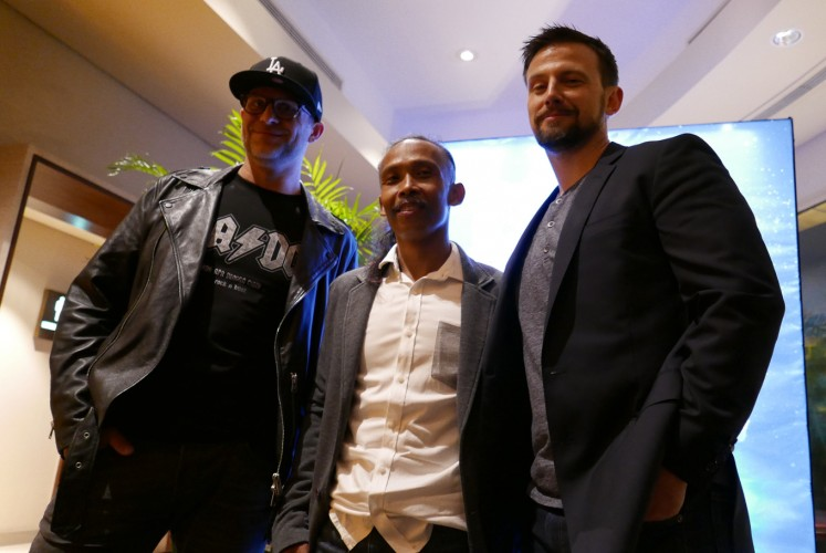 Producer Matthew Chausse (left), actor Yayan Ruhian (center) and director Liam O'Donnell during a press conference for