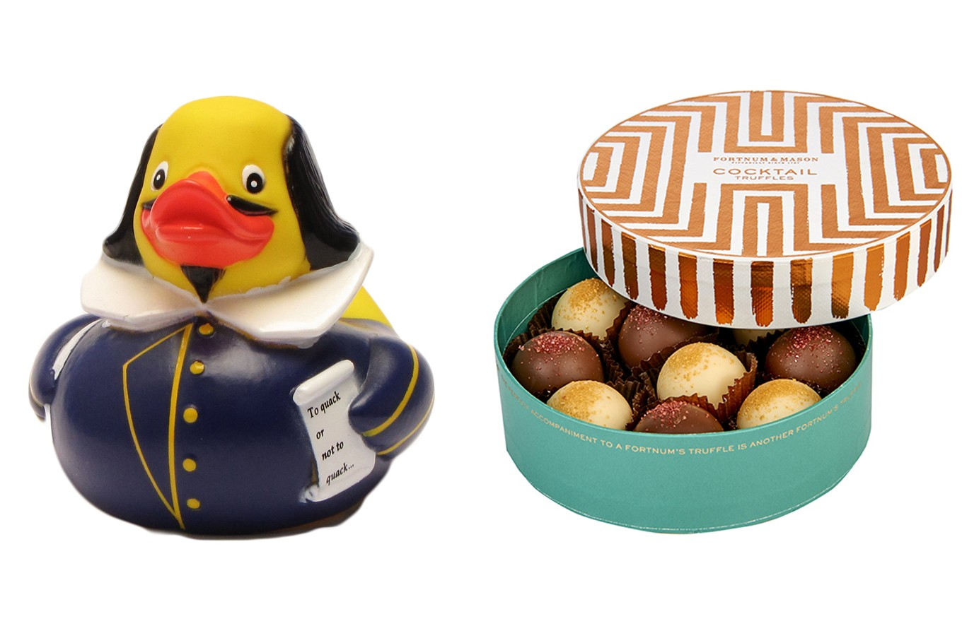 UNITED KINGDOM- Buy: The two things I most love about my country are its people's sense of humor and of our somehow managing to produce the world's greatest writer in Will Shakespeare. My Shakespeare rubber duck combines these two as the perfect gift. You may have to go to Stratford to find the Shakespeare version but rubber ducks more generally have taken over the UK and can be found lurking in most bathrooms. <br><br> If you're looking for a touch of luxury, where do I start? How about some Fortnum and Mason chocolate truffles or an Emma Bridgewater teapot for the British afternoon staple? (Paul Smith, Country Director, British Council)