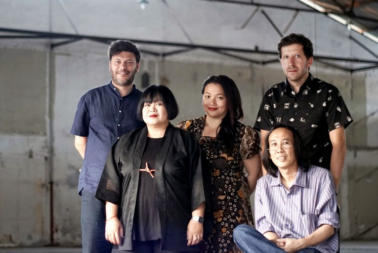 The team: Jakarta Biennale's artistic director Melati Suryodarmo (second left) poses with curators Philippe Pirotte (left), Annissa Gultom (center), Vit Havranek (second right) and Hendro Wiyanto.
