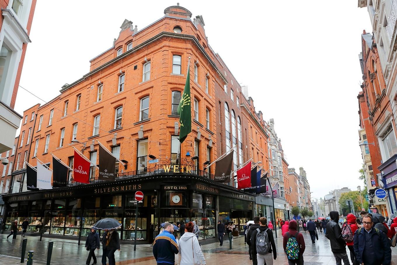 Visit Grafton Street, Dublin's famous pedestrian-friendly shopping corridor.