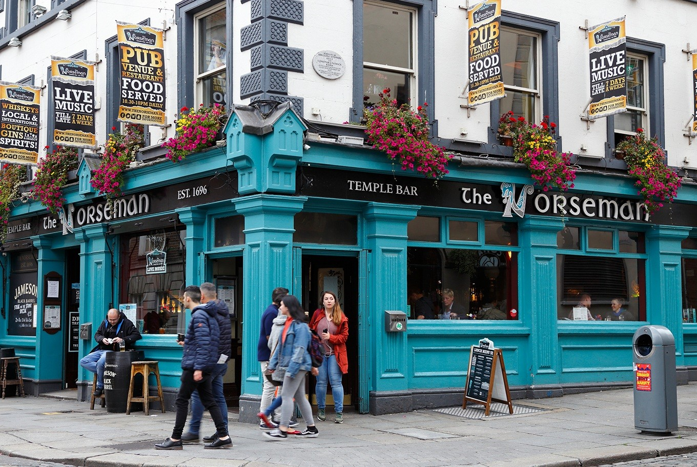 Pubs and nightclub venues are ubiquitous on the cobblestoned streets of Dublin's Temple Bar district.