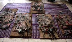 Some Dupara puppets, which are among the collection at Radya Pustaka Museum, are laid on the floor. JP/Maksum Nur Fauzan
