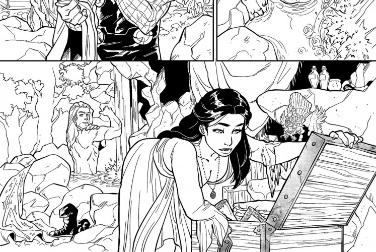 Spot the Easter egg: A miniature statue of Garuda Wisnu Kencana as drawn by Alti Firmansyah in Thor vs Hulk.