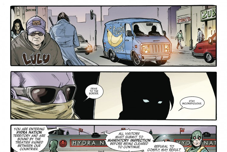 Local snacks go global: Illustration of Pisgor Asoy on a blue car in a scene from Secret Empire: Untitled.
