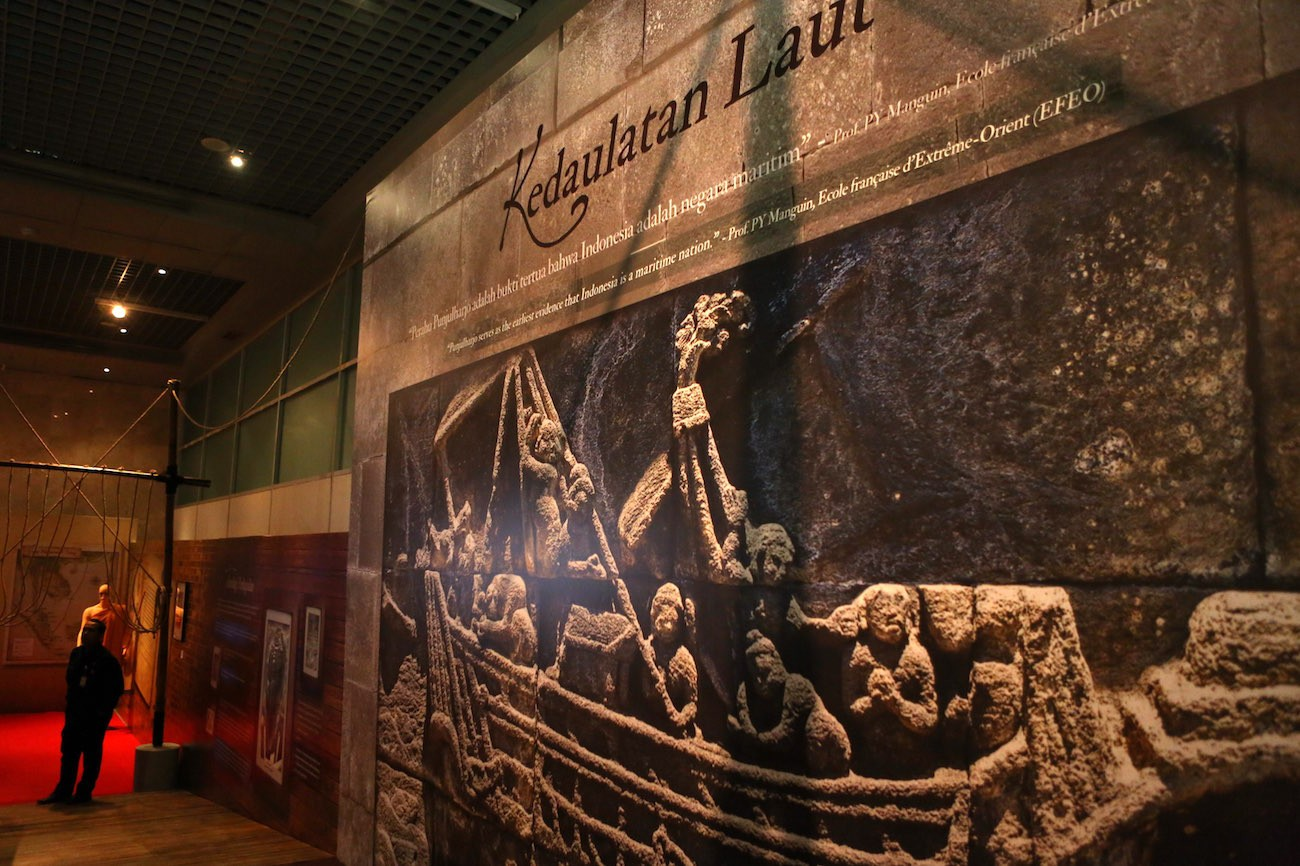 Sea sovereignty wall at the Kedatuan Sriwijaya: The Great Maritime Empire exhibition.