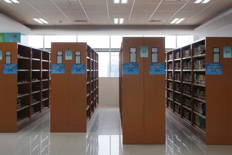 Some of the bookshelves on the 22nd floor of the National Library of Indonesia.
