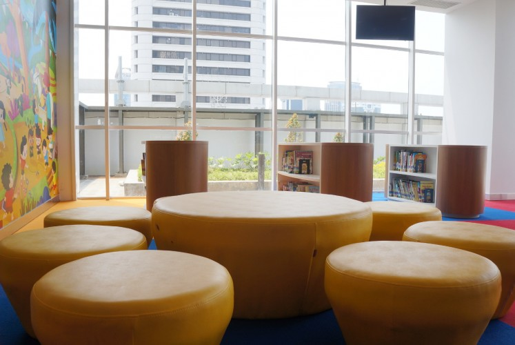 One of the seating areas at the Children Service room on the seventh floor of the National Library of Indonesia.