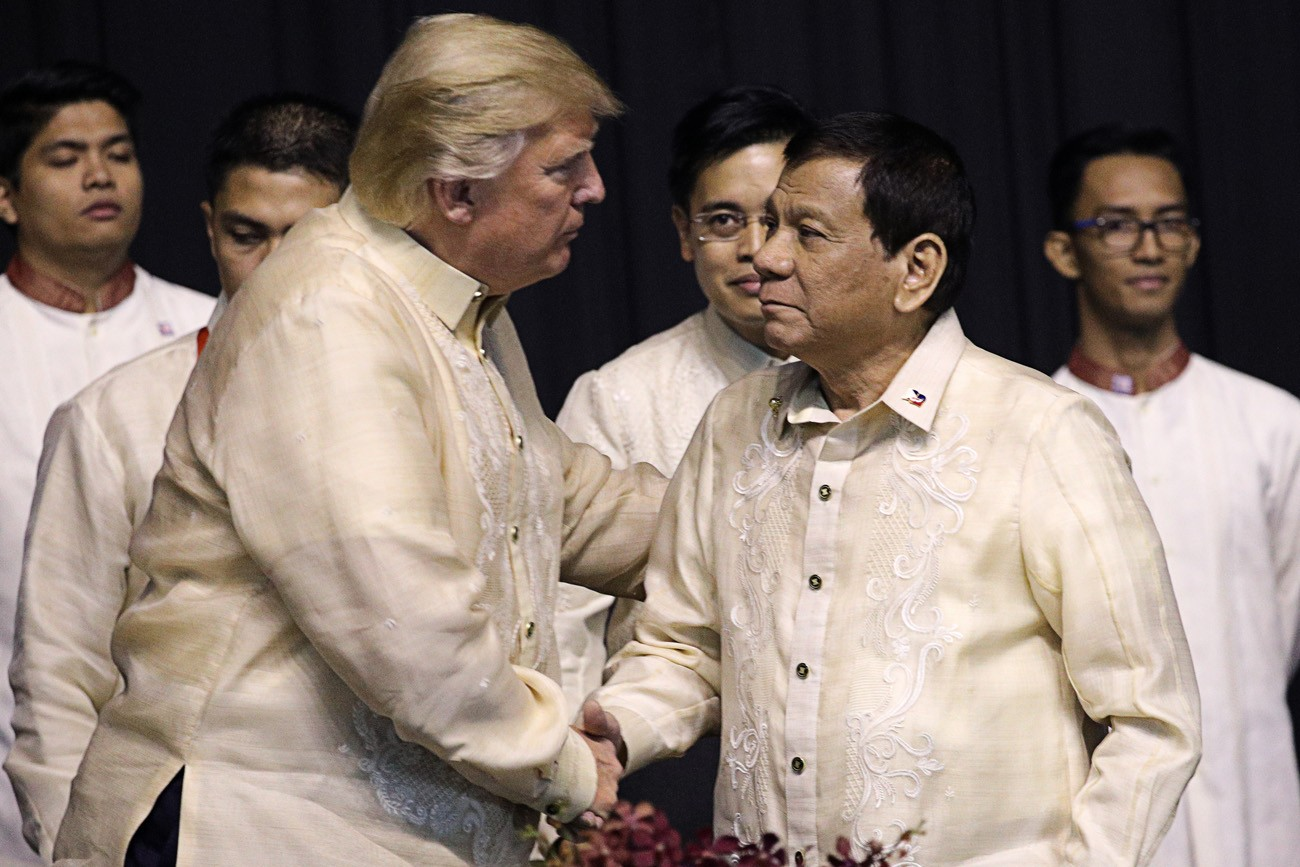 Philippines' Duterte all smiles as he meets Trump