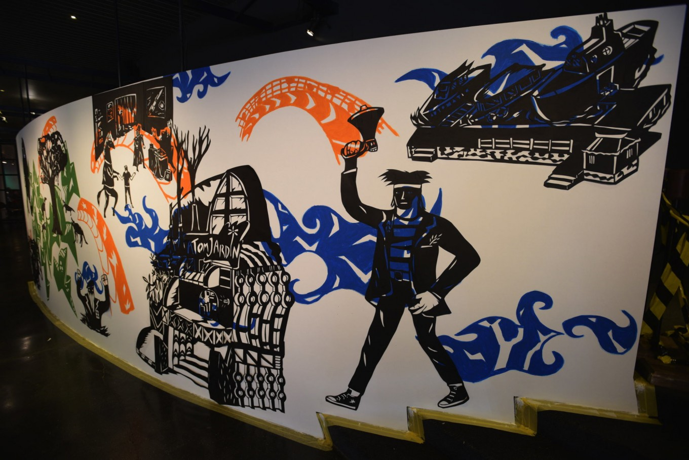 A mural painting by Yudha Sandy, a master of paper cutting techniques.