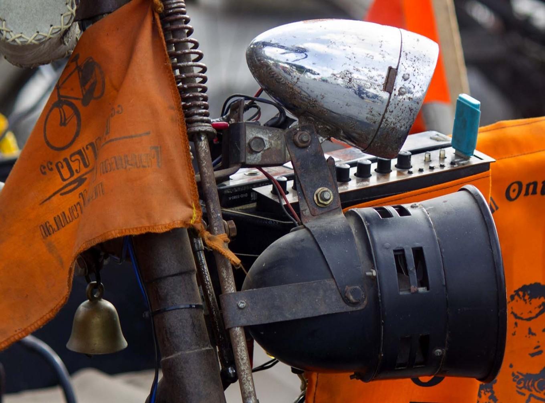 Portable speakers on a bicycle. JP/Tarko Sudiarno