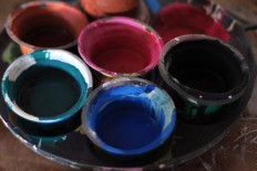 Watercolor paint is used to decorate the sculptures. JP/Magnus Hendratmo