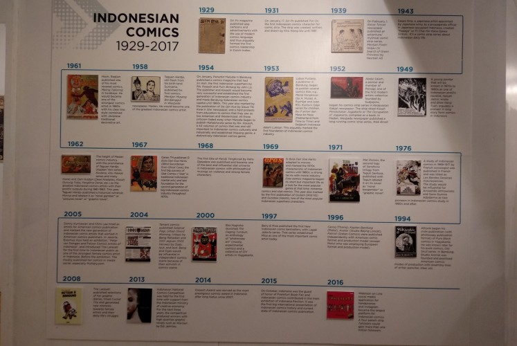 The chronological history of Indonesian comics from 1929 to 2016 is on display at the