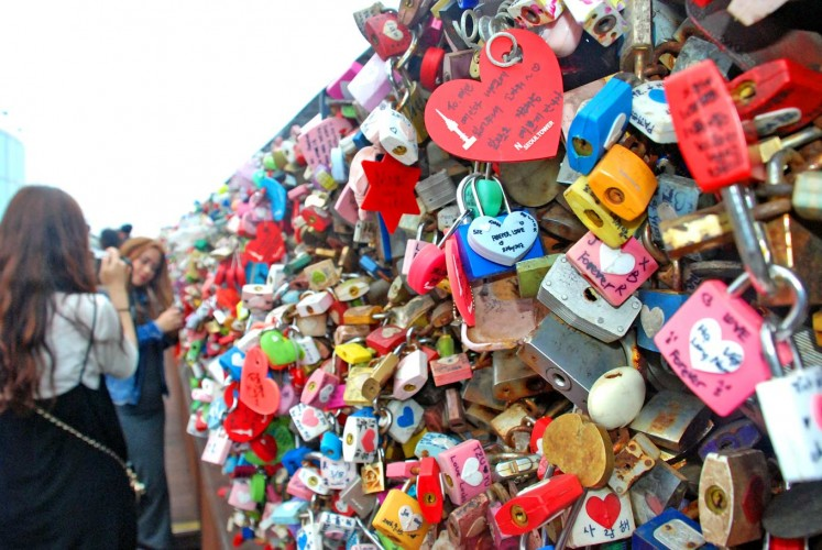 Love locks: People put padlocks onto a fence at the N Seoul Tower, or Namsan Tower, an observation tower in Namsan Mountain, Central Seoul.