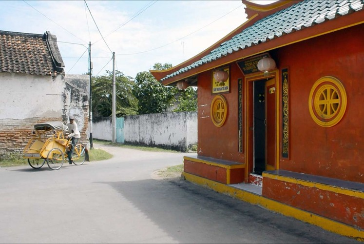 Blending in: A security guard station that looks like a shrine to Confucianism at the Kauman Islamic Boarding School in Rembang, Central Java.