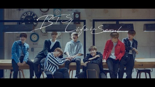 Screenshot of BTS` promotional video for Seoul City