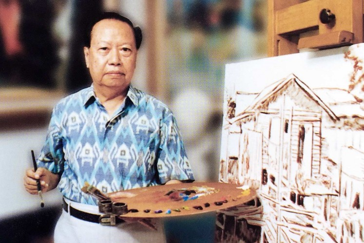 Art of survival: Lim Wasim, whose paintings graced the walls of the State Palace during founding president Sukarno's era, poses with an early sketch of his painting.