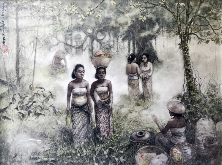 Unique touch: A painting of life in Bali by Huang Fong that features artistic Chinese influences.