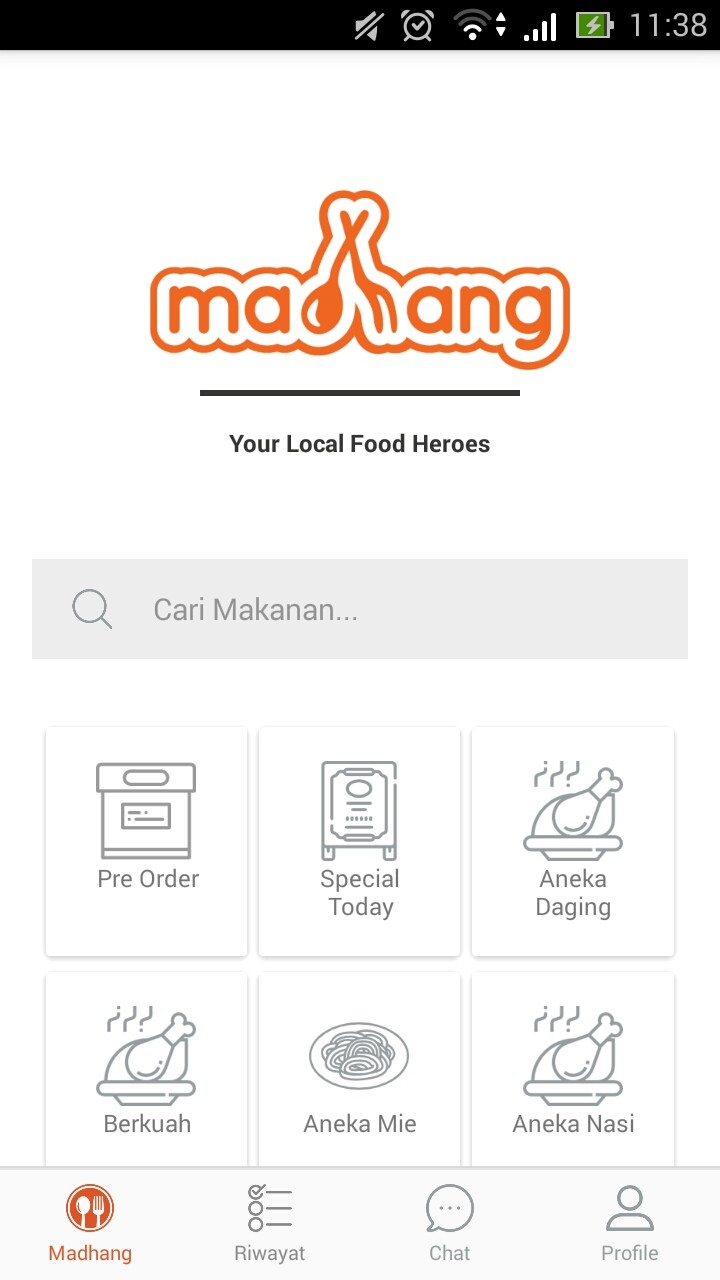 Homepage of the Madhang app for Android users.