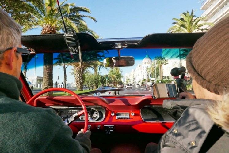 Hop in a classic car and cruise along the Promenade des Anglais in Nice in style, in a shiny bright red 1965 Convertible Ford Mustang.