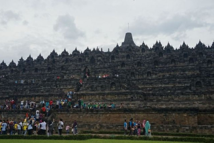 View of Borobudur Temple from the ground floor.