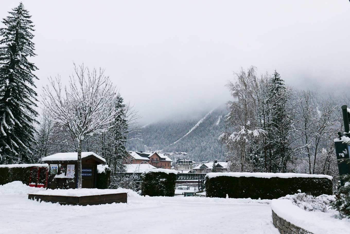 Fresh snow at the city of Chamonix Mont-Blanc, ready to greet its winter visitors mid-December 2017.