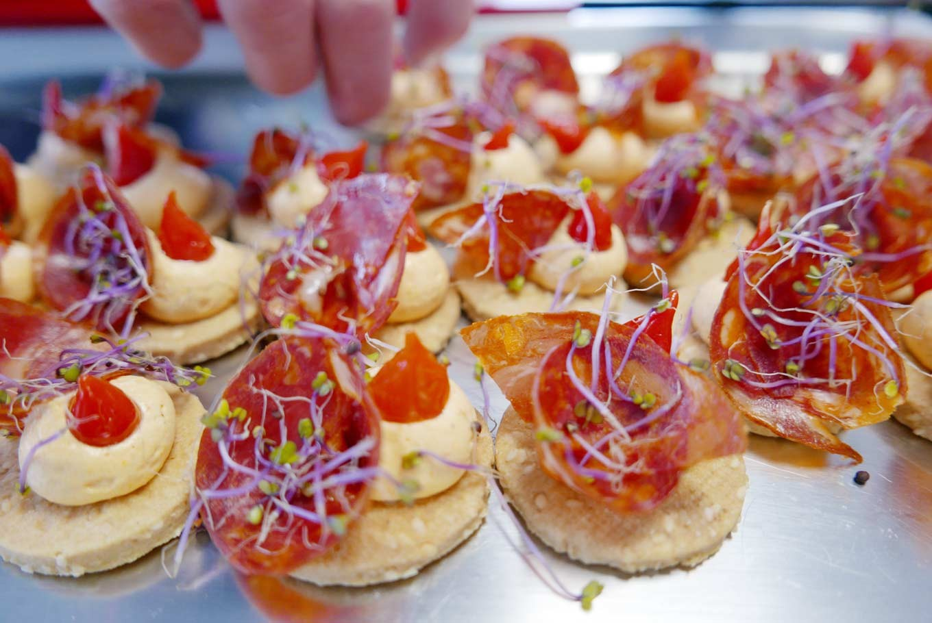 Beautiful hors-d'oeuvres prepared by Osmose's chefs for parties and gatherings.