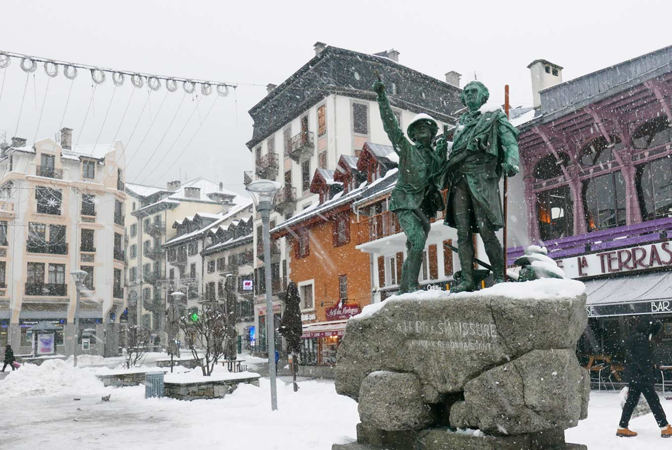 A monument dedicated to mountaineer, geologist, physicist, meteorologist, and Alpine explorer, Horace-Bénédict de Saussure (right) along with Jacques Balmat, a Chamonix-born mountaineer who was the first man to complete the ascent to the Mont Blanc in 1786. The monument is positioned in such a way that if you look from behind it, you will see Balmat's outstretched arm points to the Mont Blanc's summit.