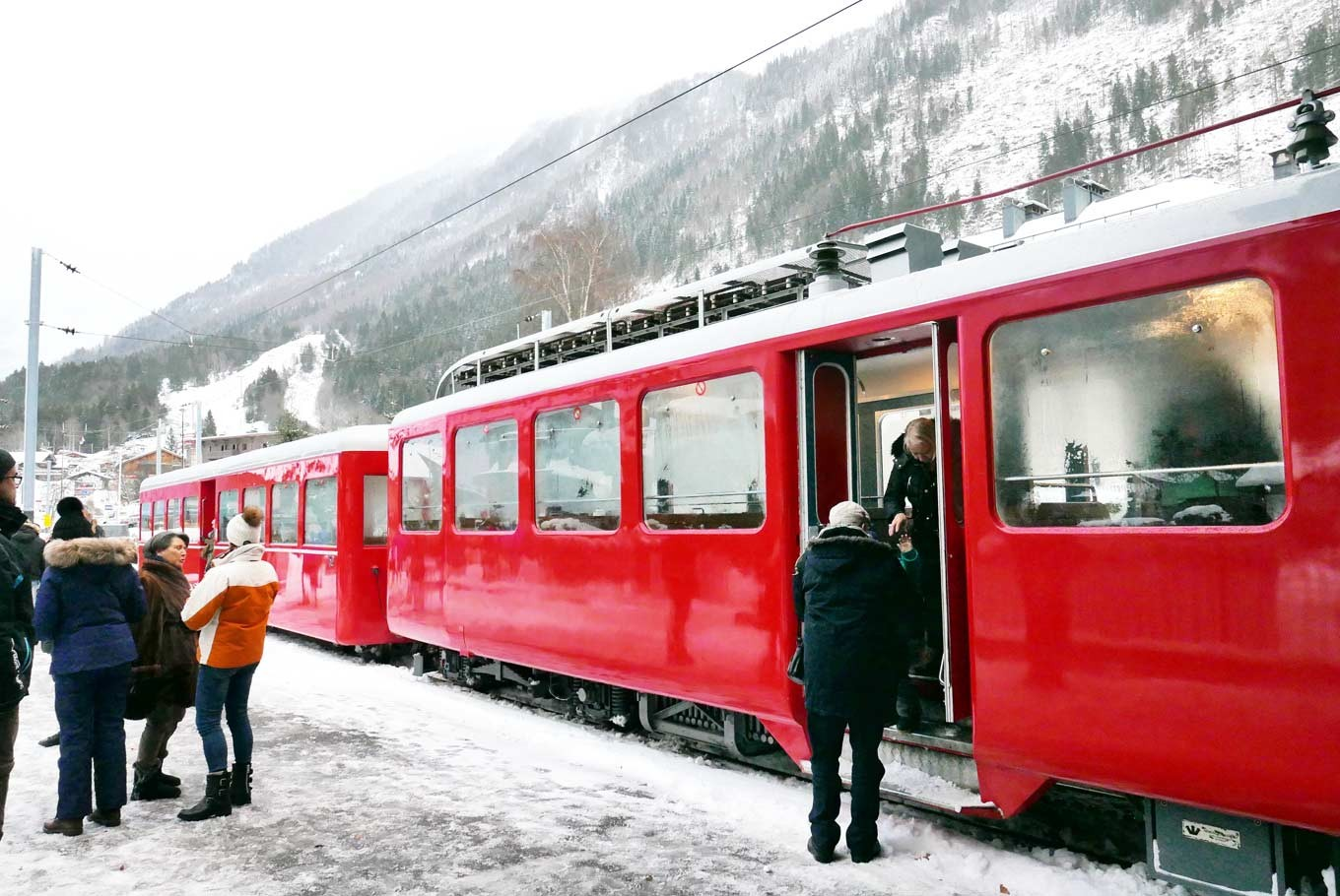 The famous Red Train built over 100 years ago, ready to take visitors up to Montenvers to enjoy the magnificent view of the Mer de Glace (Sea of Ice).