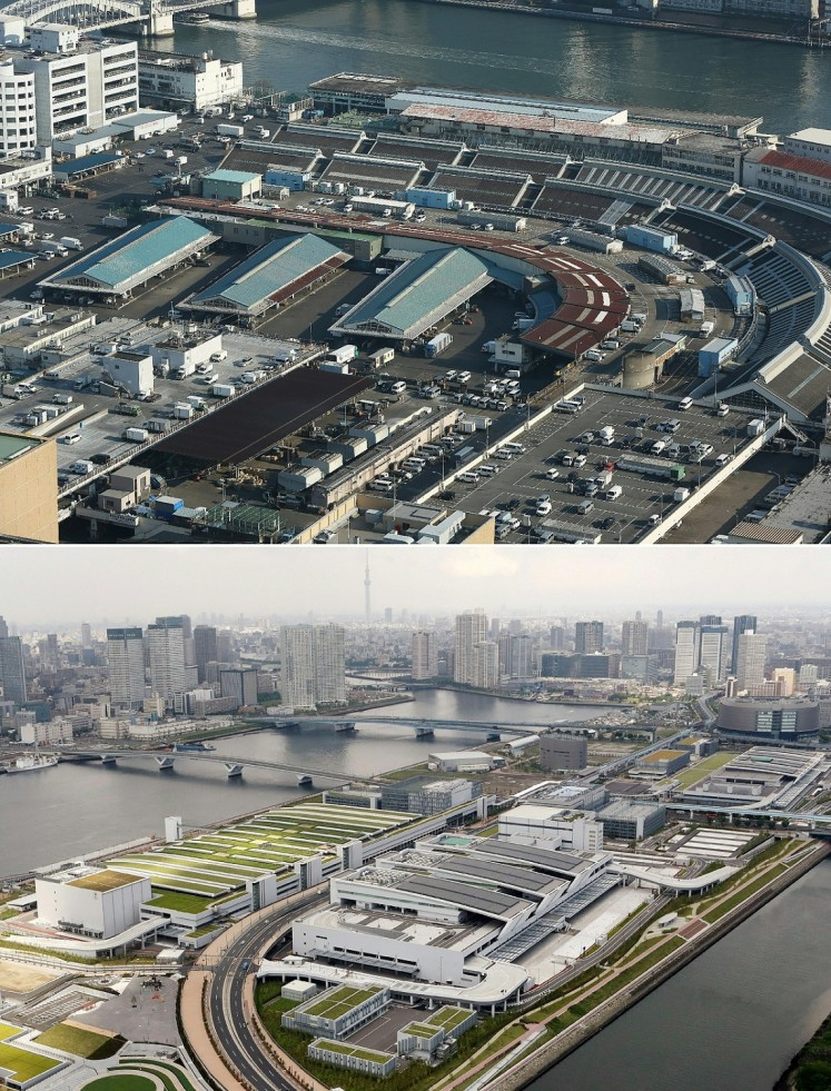 This file combination of pictures created on June 20, 2017 shows an aerial view of Tsukiji fish market in Tokyo on January 13, 2016 (top) and an aerial view of the newly built Toyosu fish market in Tokyo on May 27, 2017. Tokyo's famed Tsukiji fish market will move to a new site on October 11, 2018, the capital's governor said on December 20, 2017, ending years of delays marked by scandals and emotional divisions among fishmongers.