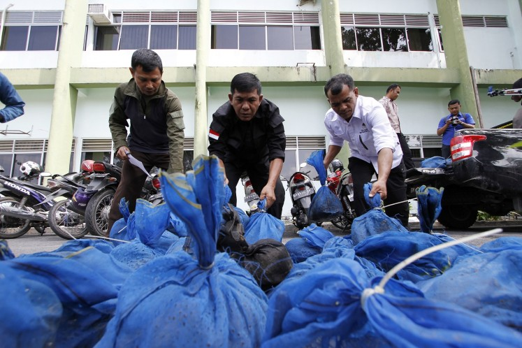 This file photo taken in Pekanbaru, Riau province on October 25, 2017 shows Indonesian officials unloading pangolins after a recent raid in Pekanbaru. Pangolin in Indnesia are at risk of extinction thanks to an illicit trade that sees thousands of the critically endangered trafficked each year, a stury showed on December 21, 2017.