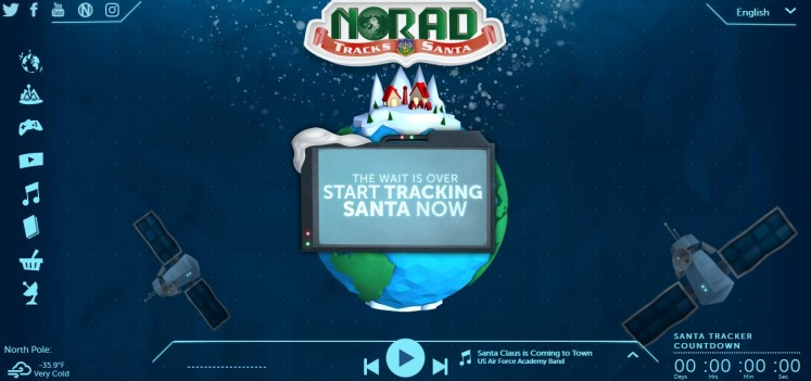 The homepage of a 3-D, interactive website NORAD Tracks Santa.