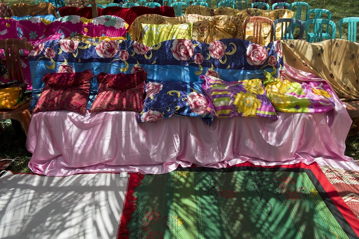 Chairs – which will be used to the ceremony participants – are being decorated with colorful fabrics. Antara/Rosa Panggabean