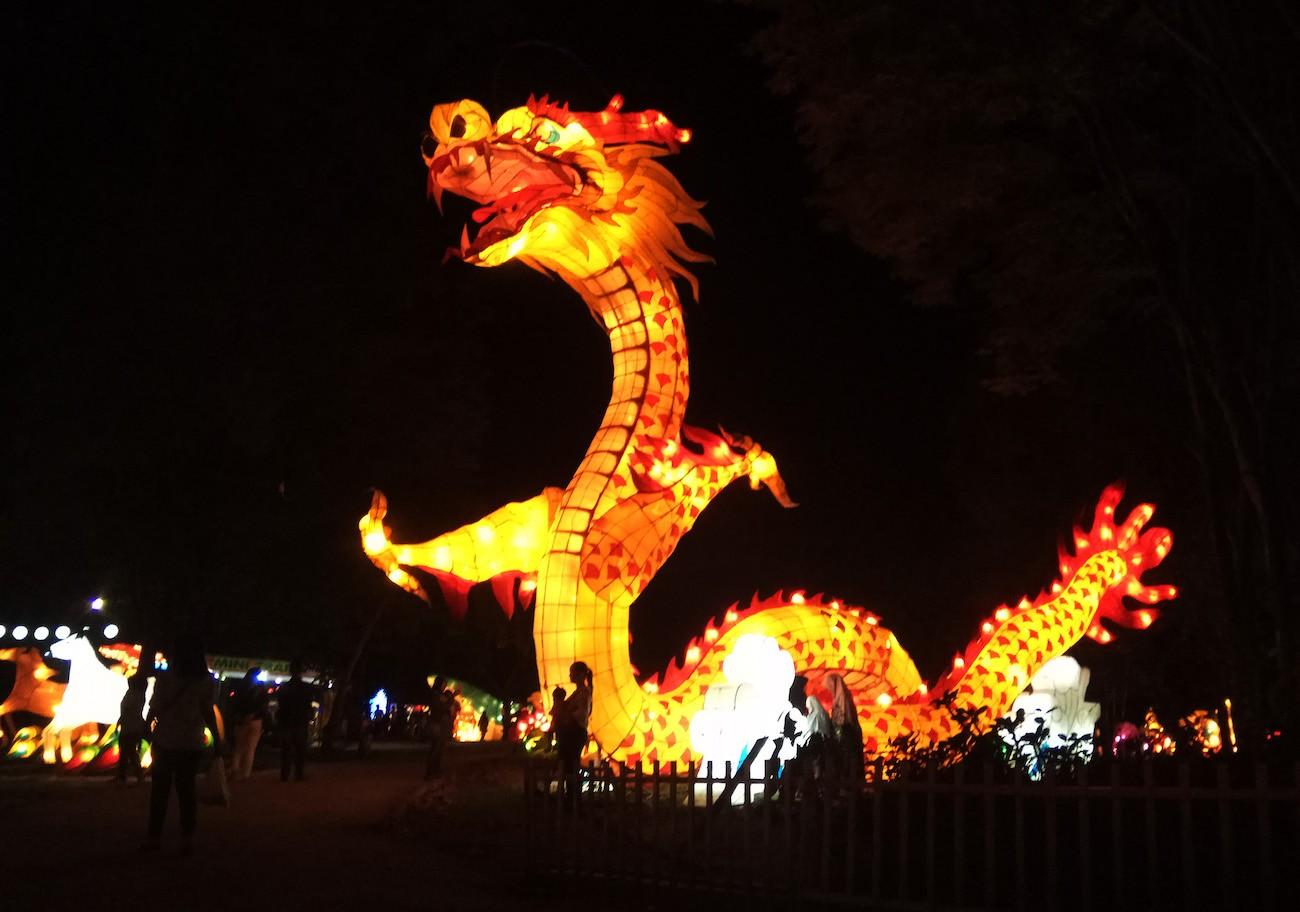 A dragon-shaped lantern at Taman Pelangi in Surakarta, Central Java.