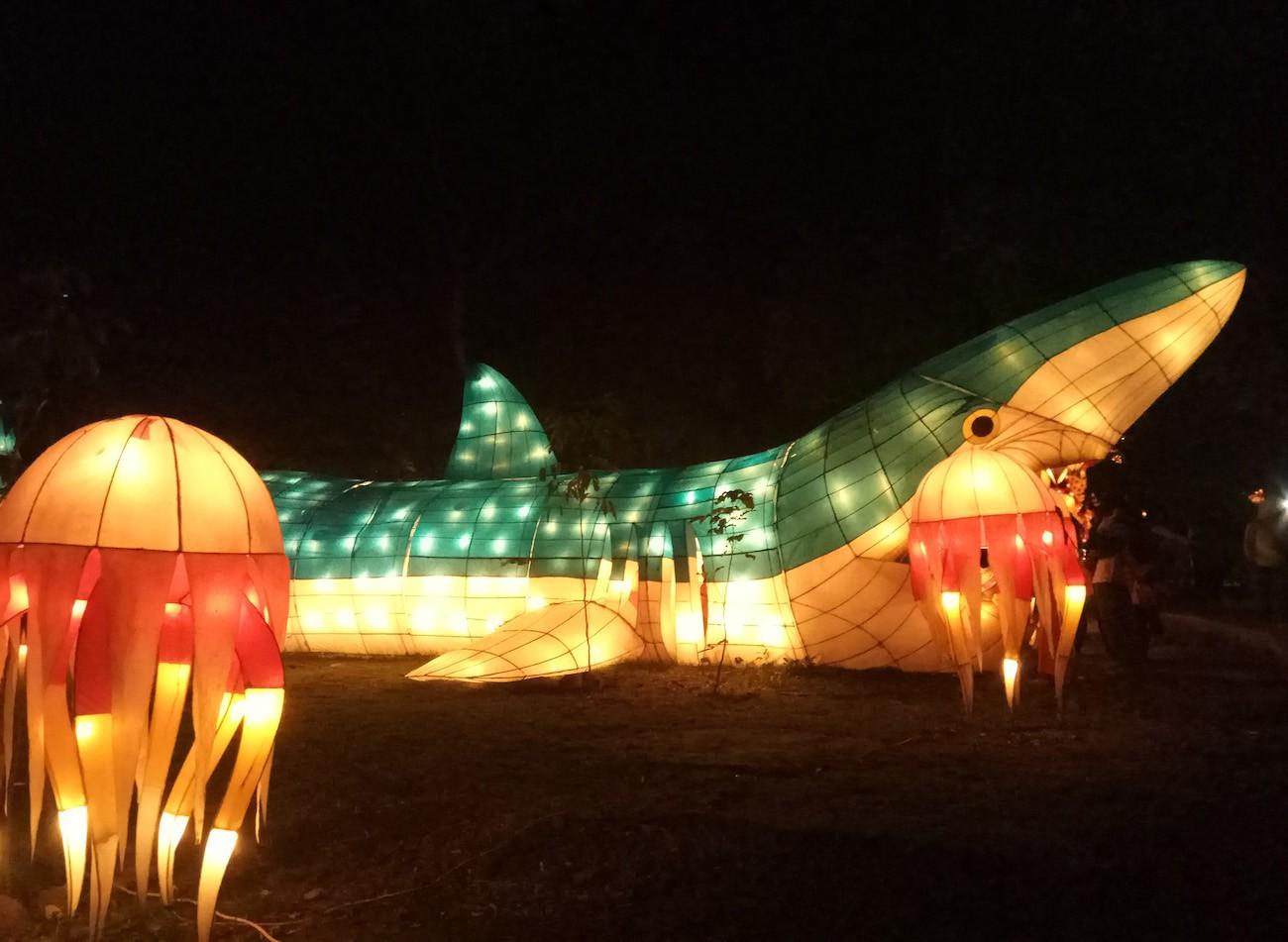 A shark-shaped lantern at Taman Pelangi.