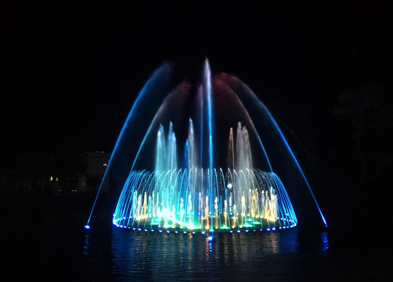 Taman Pelangi's new dancing fountain.
