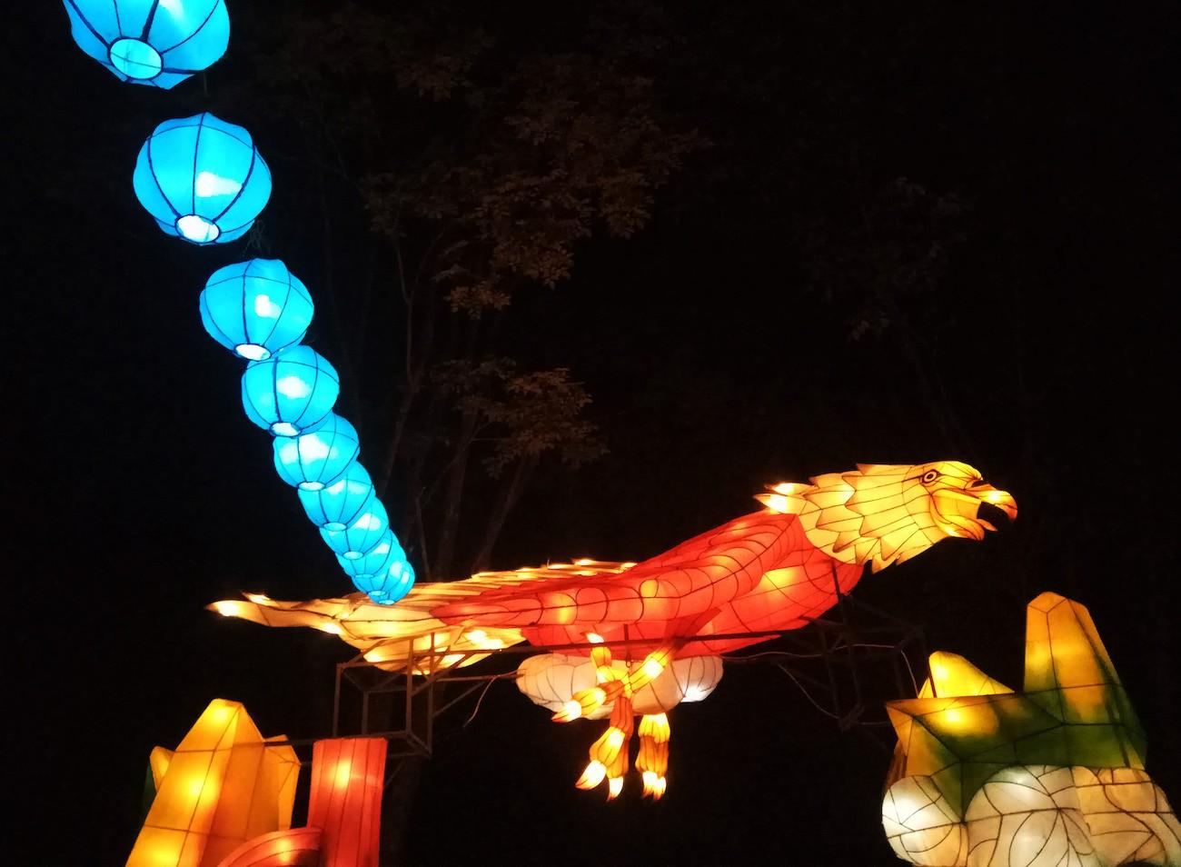 An eagle-shaped lantern at Taman Pelangi.