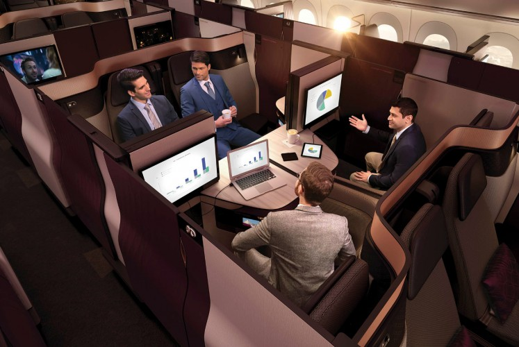 A living-room configuration of the modular, new Qsuite, Qatar Airways' new business-class product.