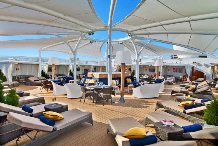 A sun deck on the Seabourn Encore, now taking travelers on intrepid trips around Alaska.