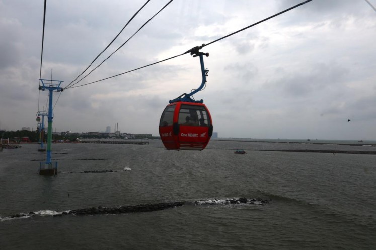 One of the Gondolas that moves above Ancol beach on December 22.