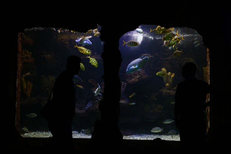People marvel at collections of seascapes at SeaWorld in Ancol, North Jakarta, on Thursday, December 22, 2017.