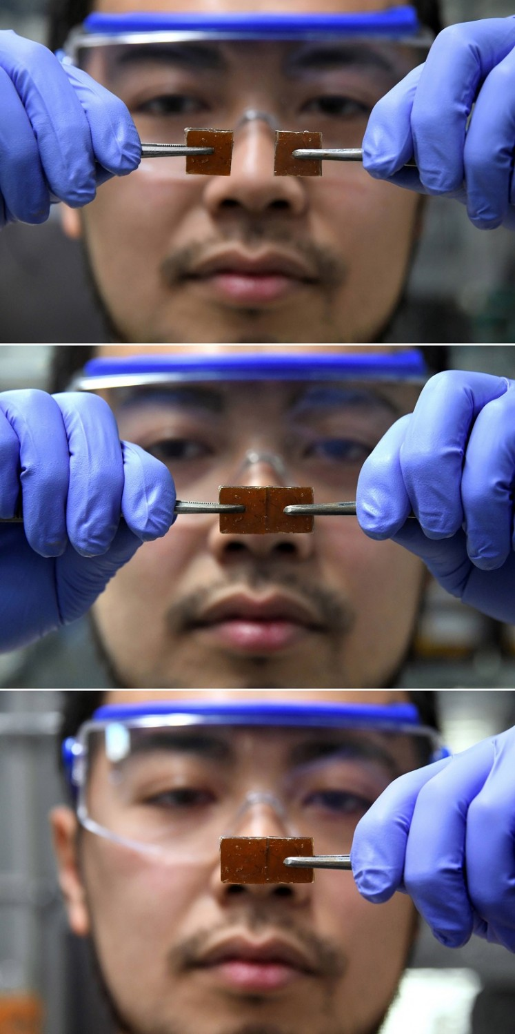 The Japanese researcher has developed -- by accident-- a new type of glass that can be repaired simply by pressing it back together after it has cracked.