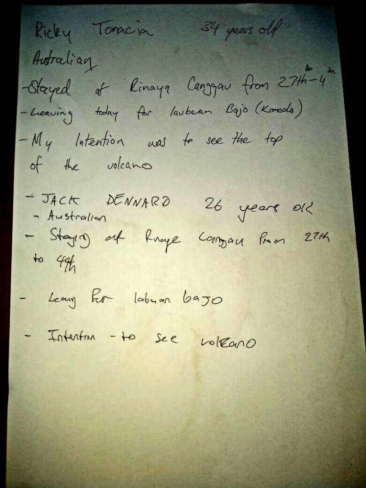 Australians Ricky Tonacia, 34, and Jack Dennaro, 26, explain why they decided to climb Mount Agung  in a handwritten statement.