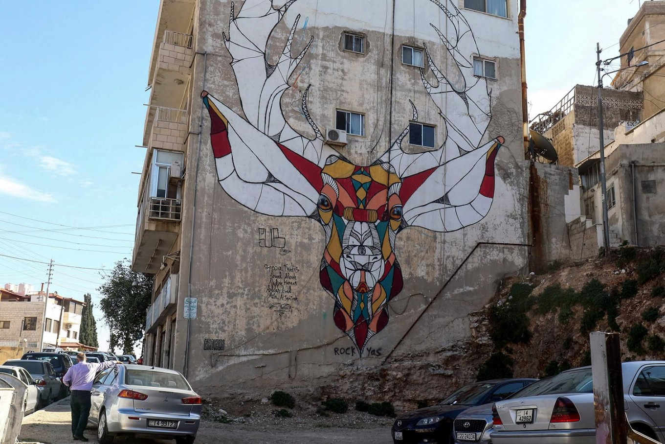 A picture taken on December 17, 2017 shows a graffiti mural on a wall in the Jordanian capital Amman. A tiny group of graffiti artists are on a mission -- daubing flowers, faces and patterns across the capital Amman to bring more colour to the lives of its four million inhabitants.