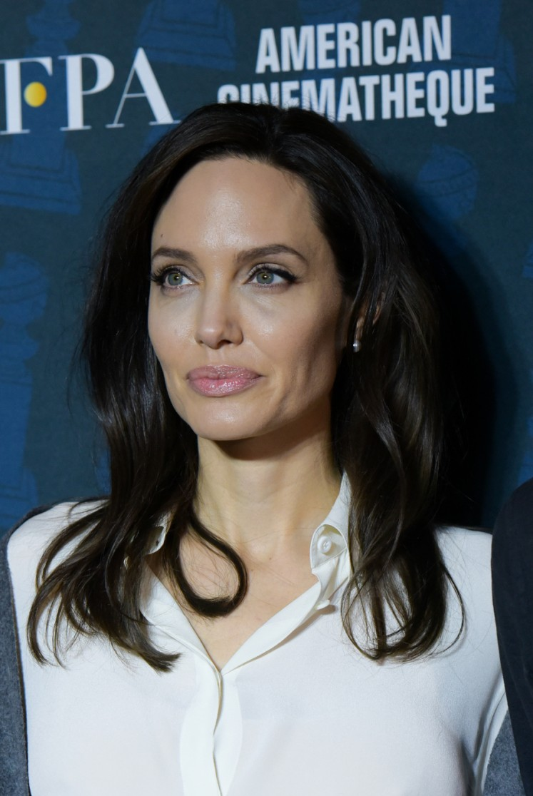 Director Angelina Jolie attends The Golden Globe Foreign-Language Nominees Series 2018 Symposium presented by The Hollywood Foreign Press Association & The American Cinematheque at the Egyptian Theatre on January 6, 2018, in Los Angeles.