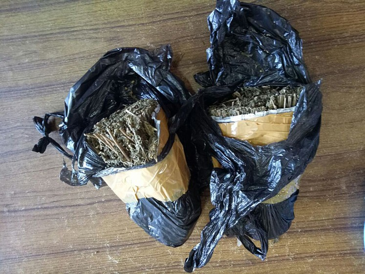 Illegal substances: Kerobokan security officers confiscated two packages of marijuana on Tuesday.